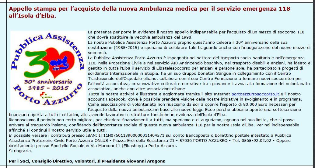 articolo nuova ambulanza pubblica assistenza porto azzurro