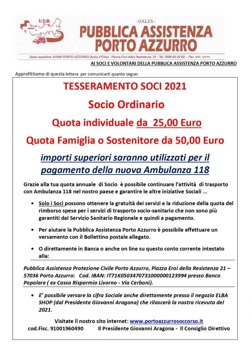 Tesseramento 2021 Pubblica Assistenza Porto Azzurro